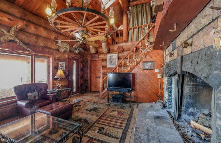 stone fireplace in Michigan log home